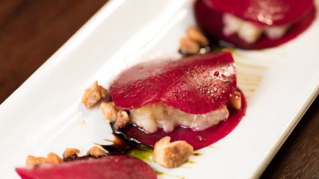 Raw Beet Ravioli is one of vegetarian offerings at One Minden Tapas Kitchen