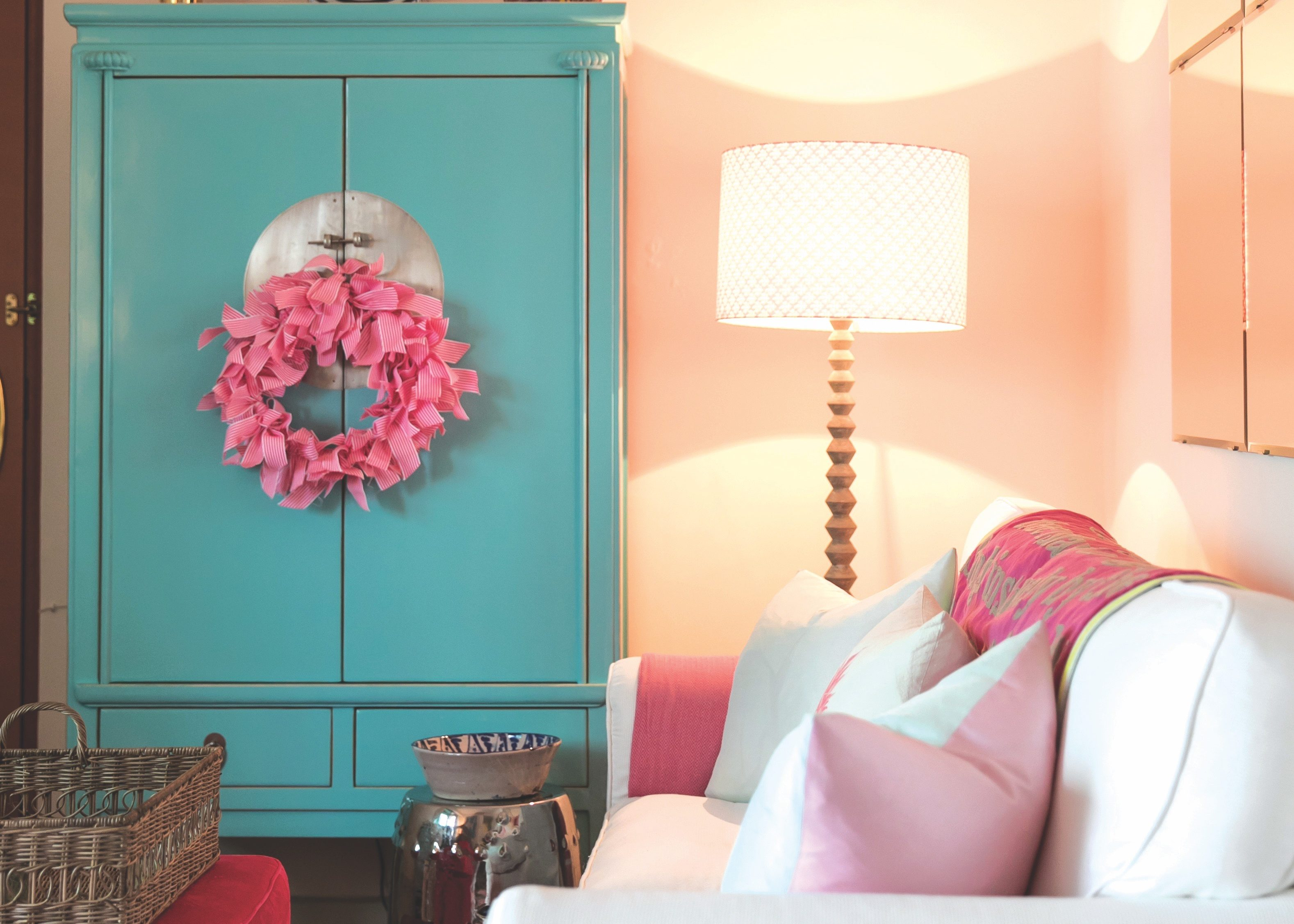 Interior design: pink and blue hues are used throughout the home
