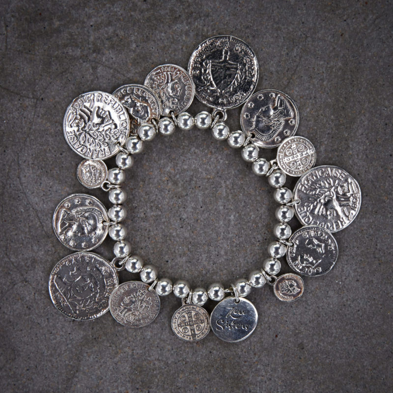 festive fashion: The Ka–Ching multi-coin bracelet features sterling silver coins on 6mm bead