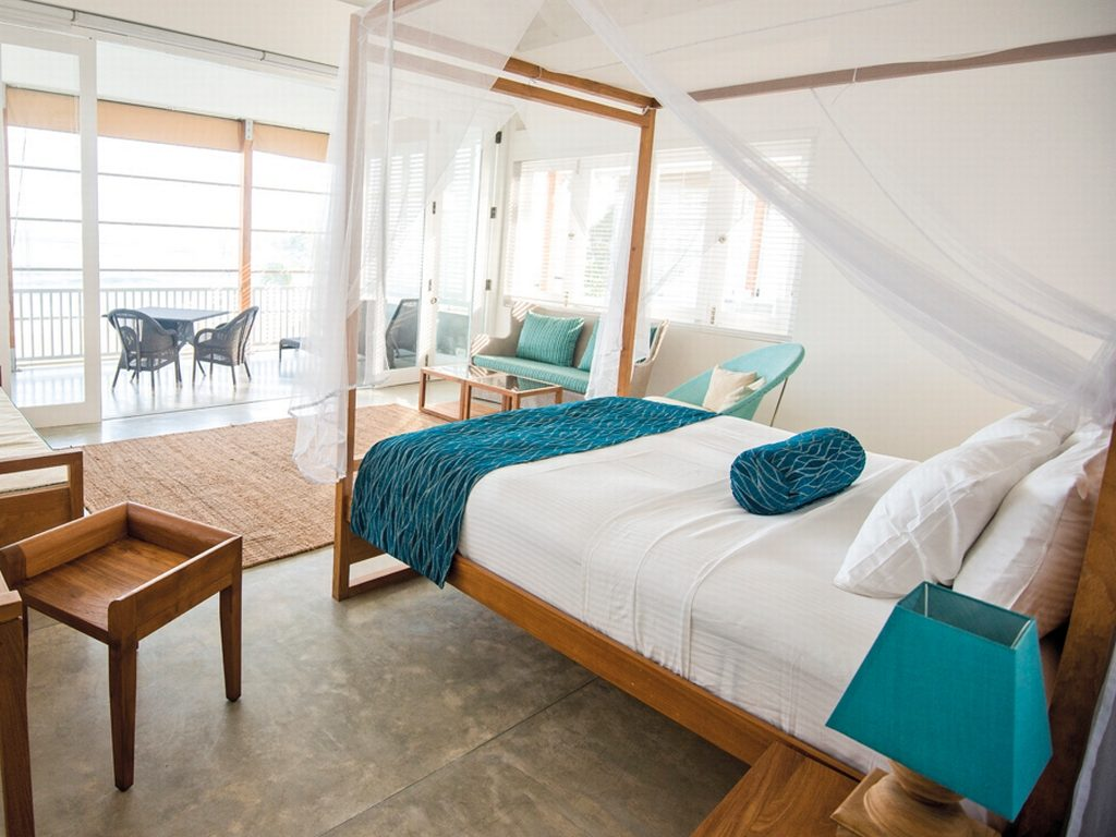 Master bedroom suite at Sri Sharavi Beach Villas, Sri Lanka