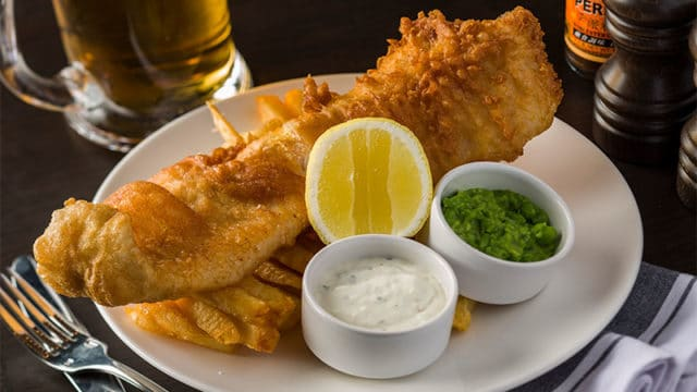 image of fish and chips at London House, one of the top restaurants in Hong Kong
