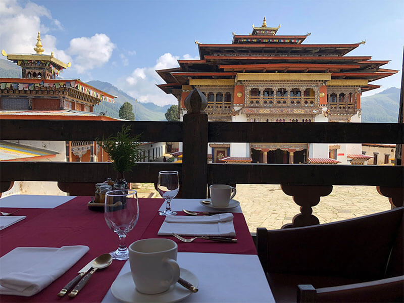 Bhutan lightfoot breakfast monastery